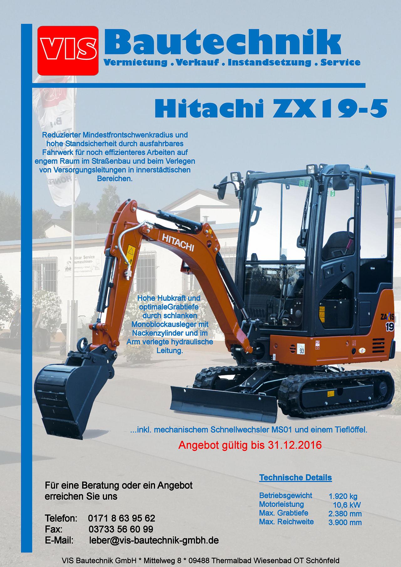 Minibagger Hitachi ZX19-5